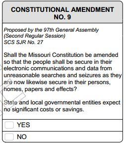 Missouri Electronic Data Protection, Amendment 9 (August