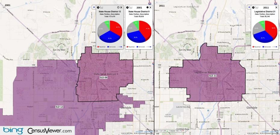 Map Of Arizona Legislative Districts.State Legislative Districts In Arizona After The 2010 Census