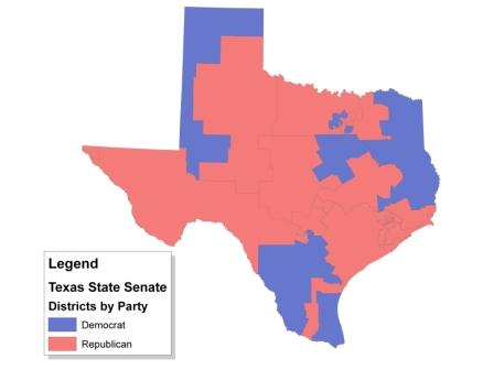 Texas Senate Districts By Party 2010 Jpg