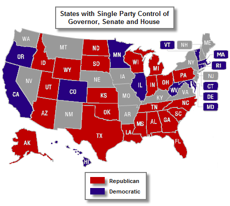 Gubernatorial And Legislative Party Control Of State Government - Us senate map 2015